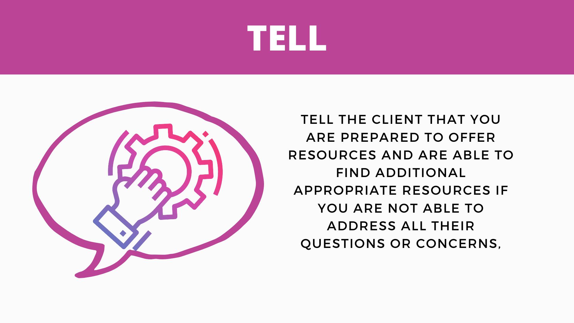 """Presentation slide on the BETTER model step """"Tell"""""""