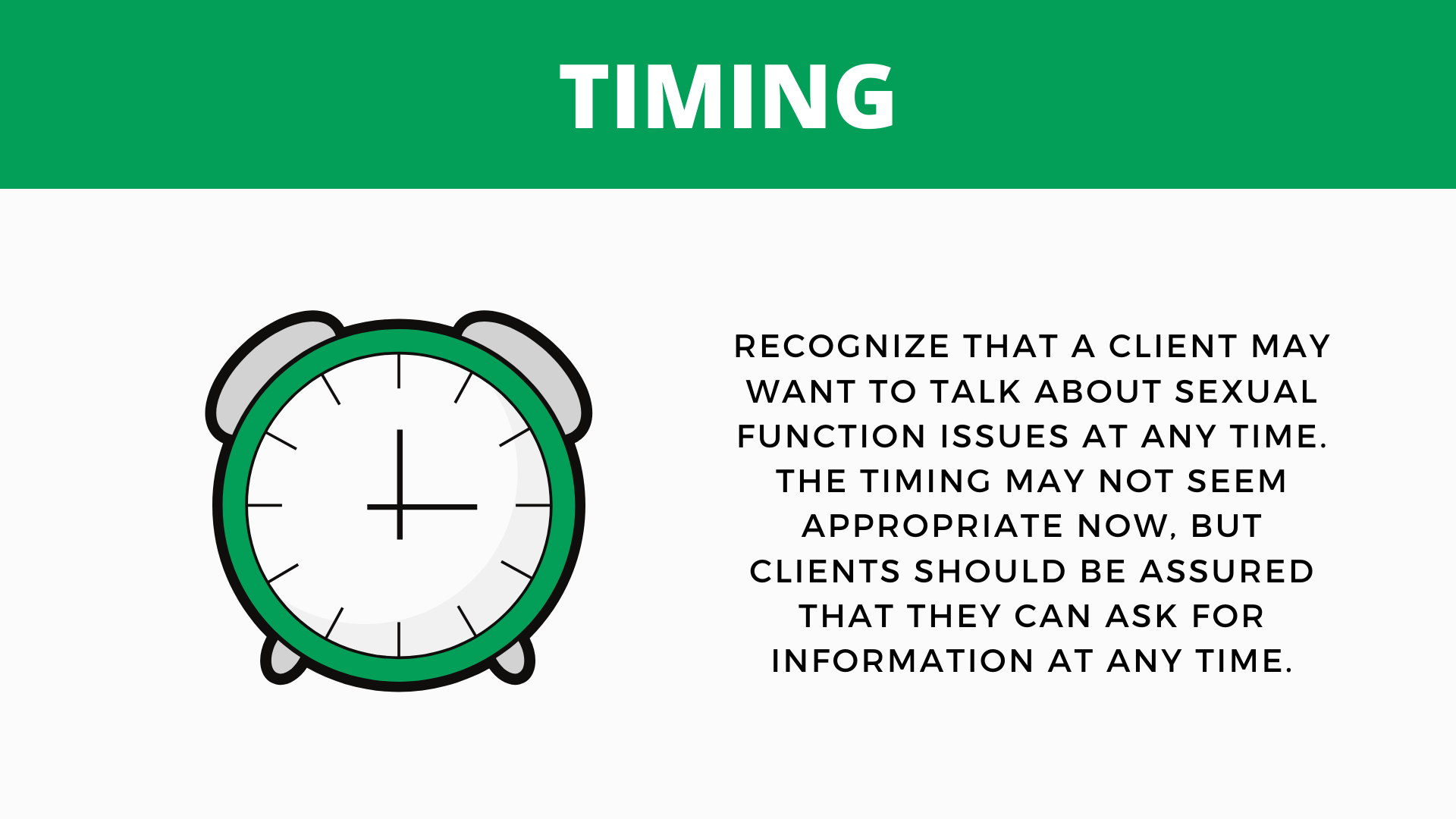 "Presentation slide on the BETTER model step ""Timing"""