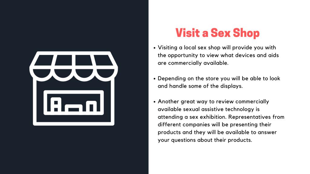 Presentation slide on the tip visit a sex shop.