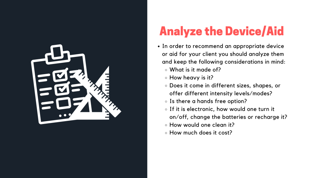 Presentation slide on the tip analyze the device/aid.