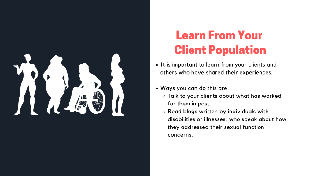 Presentation slide on the tip learn from your client population.